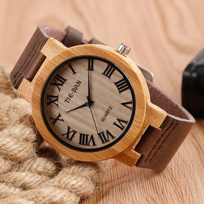 Antique Style TIEDAN Retro Bamboo Wood Quartz Wrist Watch Classic Roman Numerals Genuine Leather Fashion Birthday Gift Unisex<br><br>Aliexpress