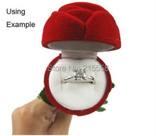 Nice ring box soft velvet Red Rose ring box for Special Occasion gift box Valentine's Day Gift Carring Cases JJAL ZBX20