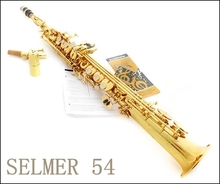 soprano saxophone Selmer 54 b Sax musical instrument electrophoresis gold professional Free shipment(China)