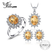 Jewelrypalace Diana Style Natural Citrine Ring Pendant Earring Jewelry Set Pure 925 Sterling Silver Fine Jewelry Set