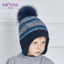 ENJOYFUR Winter baby Hats Real Fox Fur Pompom Knitted Boy Cap Mixed Color Woolen Caps Children Thick Cotton Beanies 2017 Gorros(China)