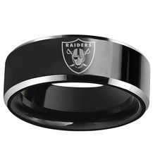 Oakland Raiders Engraved Design 8mm Black Tungsten Carbide Wedding Band Comfort Fit Men Ring Size 6 to 13