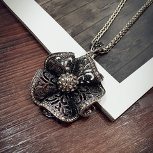 2016 New Arrival Women Pendant Necklaces Flower All-match Necklace Female Long Winter Sweater Chain Pendant Accessories(China)