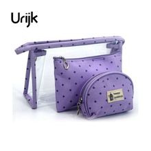 Urijk Waterproof PVC 3Pcs Cosmetic Bag Transparent Storage Bag Package Wash Bag For Travel Outdoor Portable Storage Organizer(China)