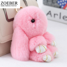 Zoeber Cute Mini cartoon Genuine Rabbit Natural Furs Pom Key Chain Women Trinket Rabbit Toy Doll bag Key Ring Monster Keychains(China)