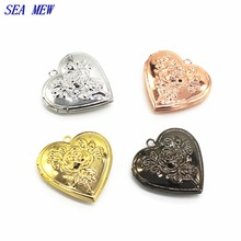 SEA MEW 29mm Locket 6 Colors Plated Metal Copper Heart Shape Flowers Carved Photo Locket Pendant Charm For Jewelry Making(China)