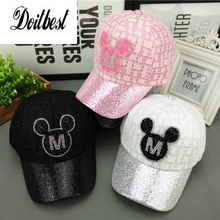 2017 New Children Hip Hop Baseball Cap Summer Sequin Mouse head kids Sun Hat Boys Girls snapback Caps for 2-8 years old