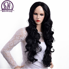 MSIWIGS Brazilian Body Wave Synthetic Wigs Long Natural Hair Black Color Wig for Black Women Heat Resistant Fiber