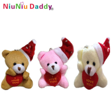 5cm Plush Christmas bear with heart I love you bear 3 colors Plush toys wholesale 60pcs/lot
