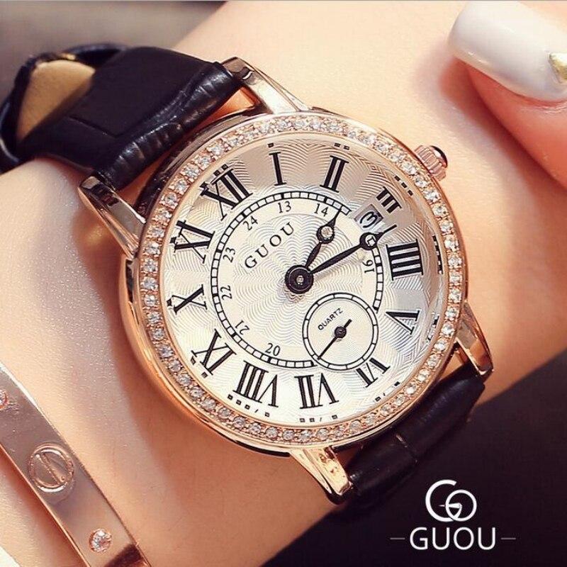 GUOU Watch Brand Roman Numerals Womens Luxury Diamond Watch Women Watches Auto Date Clock saat relogio feminino reloj mujer<br>