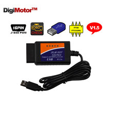 ELM327 USB Interface OBD2 Connector ELM 327 V 1.5 OBD 2 V1.5 Auto Scanner Automotivo Car Diagnostic ELM-327 EML327 FT232RL Chip