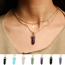 2017 Fashion unicorn Multi Color Natural Stone Quartz Pendants maxi Necklace For women New Lovers Gift brincos charms Jewelry