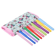 New 2.0mm-6.5mm With bag Set of 10 Aluminum Crochet Hooks Knitting Needles Multi color Soft Plastic Grip Handle Weave Craft Tool