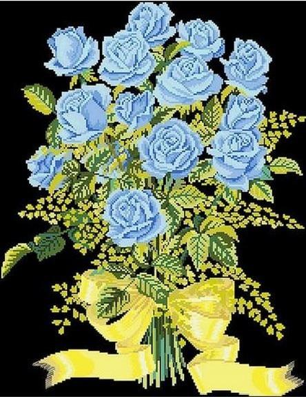 paquete de la venta caliente mejor calidad de punto de cruz kits de bordado ramo de rosas azules envo gratis