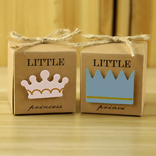 10pcs Little Prince&Princess Gift Box Wedding Birthday Party Paper Favor Baby Shower Party DIY Paper Cake Packaging Boxes(China)