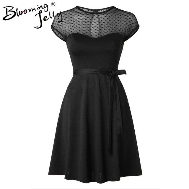 Heart Pattern Gauze Mesh Summer Dress Patchwork Swing Cocktail Bow Belt Women Little Black Dress 2016