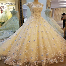 Buy LS00062 Gorgeous champagn bridal gown lace beading cap sleeves ball gown lace wedding dress vestidos de noivas real photos for $450.83 in AliExpress store