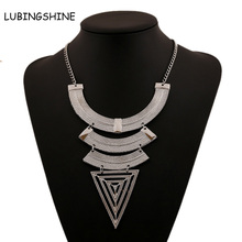New Gold Silver Boho Bijoux Femme Necklaces Ethnic Colar Vintage Choker Collar Element Spikes Statement Necklaces Gift JJAL N342(China)