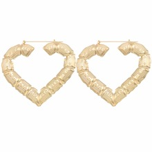 Wholesale Jewelry Big Large Bamboo Heart Hoop Earrings Hip hop Earrings 1pairs/lot(China)