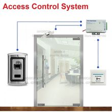 Fingerprint Door Access Control System for Frameless Glass Door Electric Strike Lock +Power Supply+Switch
