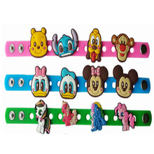 50PCS Multi color Silicone Bracelet Wristbands 18CM With Shoe Croc Buckle PVC Shoe Accessories Shoe charms Children Gifts(China)