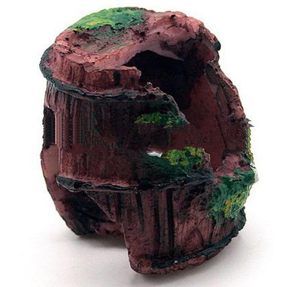1PC Aquarium Artificial Barrel Resin Ornament Cave for Fish Tank Landscaping Decoration