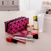 Women Laser Flash Diamond Leather Makeup Bag Ladies Cosmetics Organizer New Trend Fashion Geometric Zipper Cosmetic Bag 2016(China)