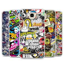 Sticker Bomb Illustration Pattern Cell Phone Case Cover for Samsung Galaxy J1 J2 J3 J5 J7 C5 C7 C9 E5 E7 2016 2017 Prime
