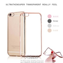 Luxury Ultra Thin Clear Crystal Rubber Plating Electroplating TPU Case Cover For iPhone 6 6s 7 Plus Transparent Cell Phone Cases(China)