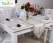 Pastoral Luxury European Lace Table Cloth Embroidery Polyester Square Round/Rectangle Table Runner Wedding Home Party