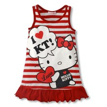 Keelorn free shipping Retail, 2017 Kids girls clothes cute kitty Dress, 2 colors of red and pink KT Clothes, free shipping