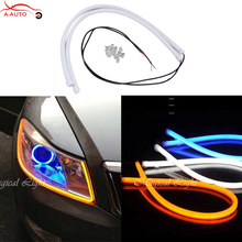 2 x Flexible LED White Amber Tube Strip Style DRL Headlight LED Switchback Turn Signal Angel Eyes Light Parking Lamps