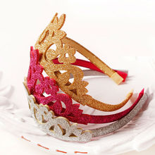 #50907 Korean Fashion Princess Crown Headband For Girls Party Use Tiara Band Rose Red Silver Gold Flash Wreath Flowers Hairband(China)