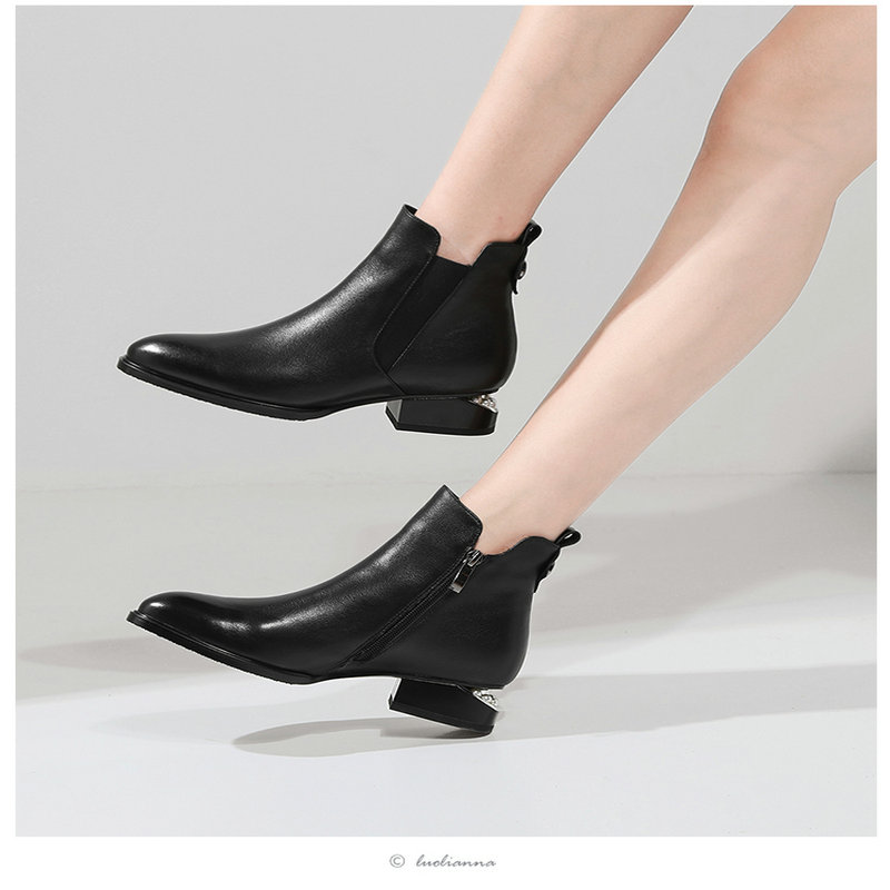 Fashion women boots round toe zip genuine leather boots low heels classic ankle boots ladies black shoes large size 42 13 Online shopping Bangladesh