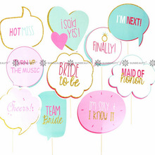 Tiffany Blue Wedding Photo Booth Props Kit with Gold Sparkly Edge Holiday Song Lyric Photo Props on a Stick Wedding Signs(China)