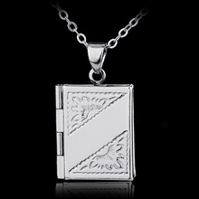 Women Men Silver Plated Book Box Pendant Necklace New Punk Wish Locket Chain Necklace Fashion Muslim Jewelry 1 Piece