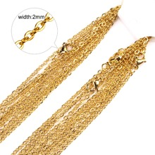 2mm Gold/Silver Stainless Steel Chain Necklace Wholesale Fashion Jewelry Rolo Chains,Good quality Never Fade