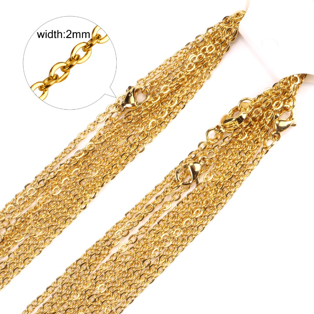 2mm Gold/Silver Stainless Steel Chain Necklace Wholesale Fashion Jewelry Rolo Chains,Good quality Never Fade(China)
