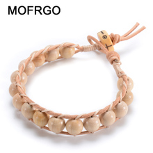 MOFRGO Natural Abelia Biflora Turcz Wood 8mm Beads With Yak Bone Charm Bracelets For Women Handmade Brown Leather Weave Bracelet(China)