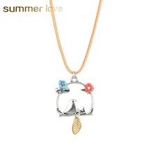 Cute Bird Leaf polymer Clay Flower Birdcage Pendant Necklaces For Women Girls Rope Chain Necklace Silver Jewelry(China)