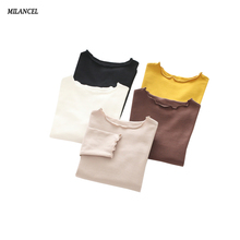 MILANCEL 2018 New Girls Blouse Solid Kids Shirt Long Sleeve Cotton Children Blouse Brief Base Shirt Spring Girls Clothes(China)