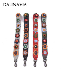 DAUNAVIA FAshion Flower Women Bag Strap Boho Style Summer PU Straps For Bags Elegant Lengthened Replacement Shoulder Straps