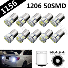 10 pcs Super Bright BA15S 1156 P21W 50SMD 1206 12V 3020 50 Led SMD Car Brake Light Turn Signals Rear Parking Reverse Lamps(China)