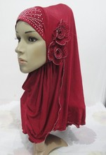H972a latest muslim one piece pull on hijab with 2 pcs flowers,free shipping