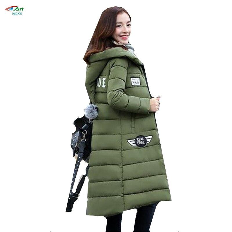 JQNZHNL Winter New Fashion Cotton Jacket 2017 Women Hooded Warm Large size Cotton Jacket Medium long Casual Cotton Jacket AS103Îäåæäà è àêñåññóàðû<br><br>