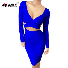 ADEWEL 2017 Autumn Long Sleeve Hollow Out Sexy Club Bandage Bodycon Dress Velvet Inside Elastic Elegant Pencil Party Dresses(China)