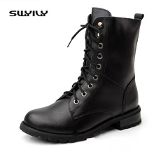 Plus Size 2017 Winter Women's Boots Plush Velvet Genuine Leather Black Ankle Boots Lace Up Warm Waterpfoof Snow Female Shoes