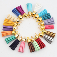 DIY 10PCS/lot Glod Color Head Colored Tassels 38mm Leather Tassel for Keychain Bag Decoration Purl Cannetille