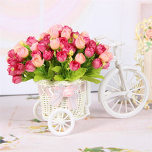Artificial roses simulation floats wedding party decorations white plastic bike flower baskets DIY artificial flowers decoration