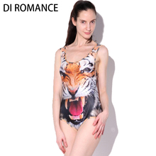 DI ROMANCE hot Women Tiger Head Sexy Swim Suit Digital Print Animal Wild Tiger Backless Bodysuit Beach Swimwear DI170